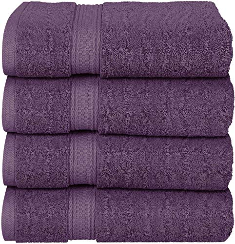 Utopia Towels - Plum Bath Towels Set, 4 Pack - Premium 600 GSM 100% Ring Spun Cotton - Quick Dry, Highly Absorbent, Soft Feel Towels, Perfect for Daily Use