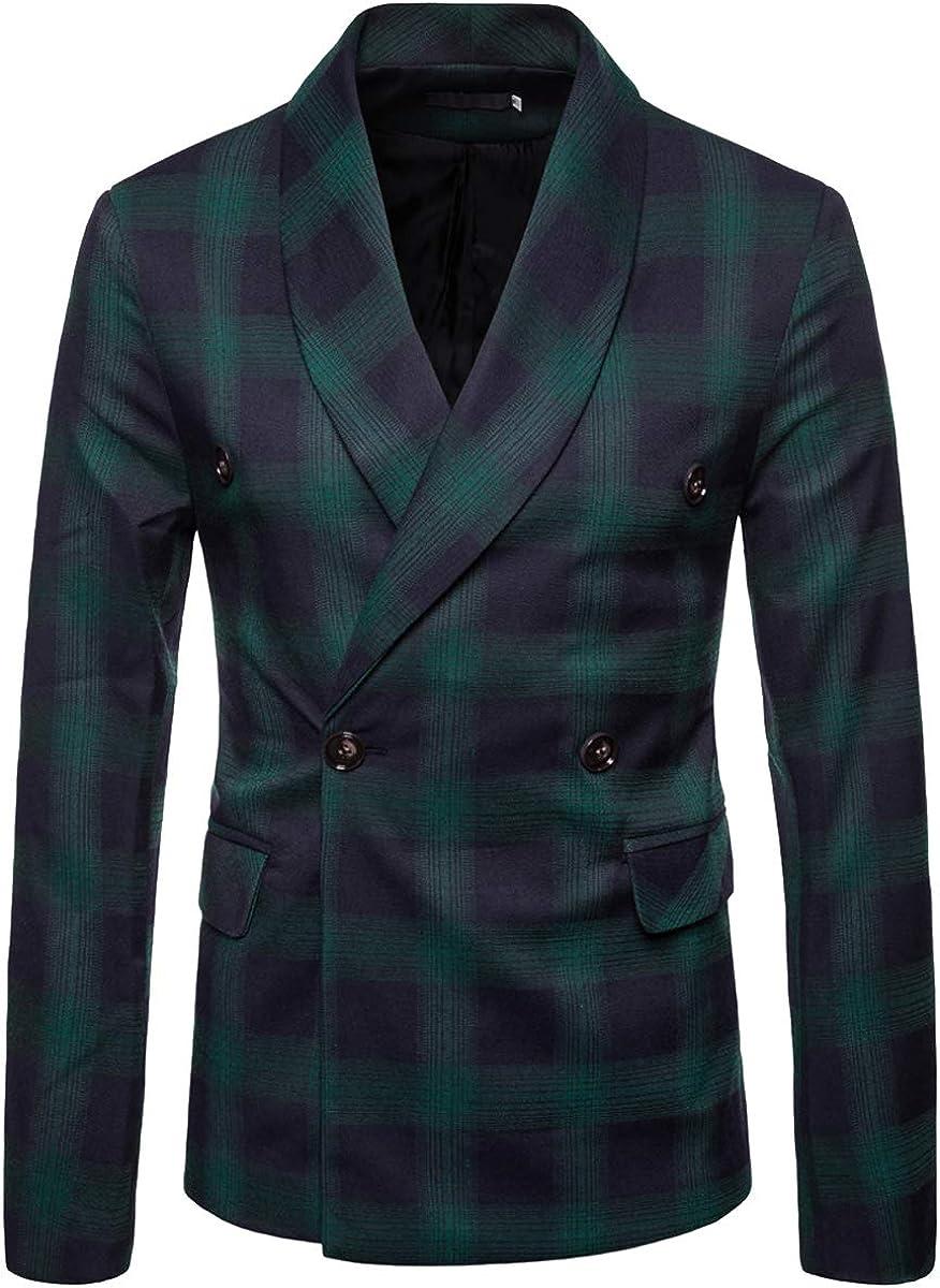 Cottory Men's Double Breast Sport Coat Shawl Lapel Tartan Blazer Outwear