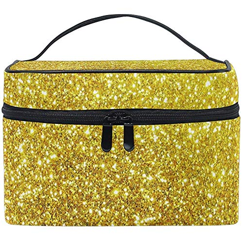 Golden Glitter Star Women Travel Cosmetic Bag Portable Makeup Train Case Trousse de toilette Beauty Organizer