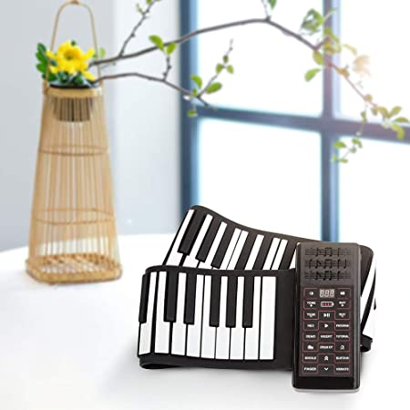 KKTECT Roll Up Piano Teclado Portátil 88 Teclas, Thicken Hand Roll Roll Up Piano, Built-in 1200mA Rechargeable Battery, Support MIDI and Bluetooth, ...