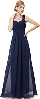 Flower One Shoulder Empire Waist Floor Length Bridesmaids Dress 09768