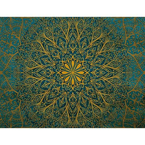 Fototapete Mandala Orientalisch 352 x 250 cm Vlies Tapeten Wandtapete XXL Moderne Wanddeko Wohnzimmer Schlafzimmer Büro Flur Grün Gelb 9093011b