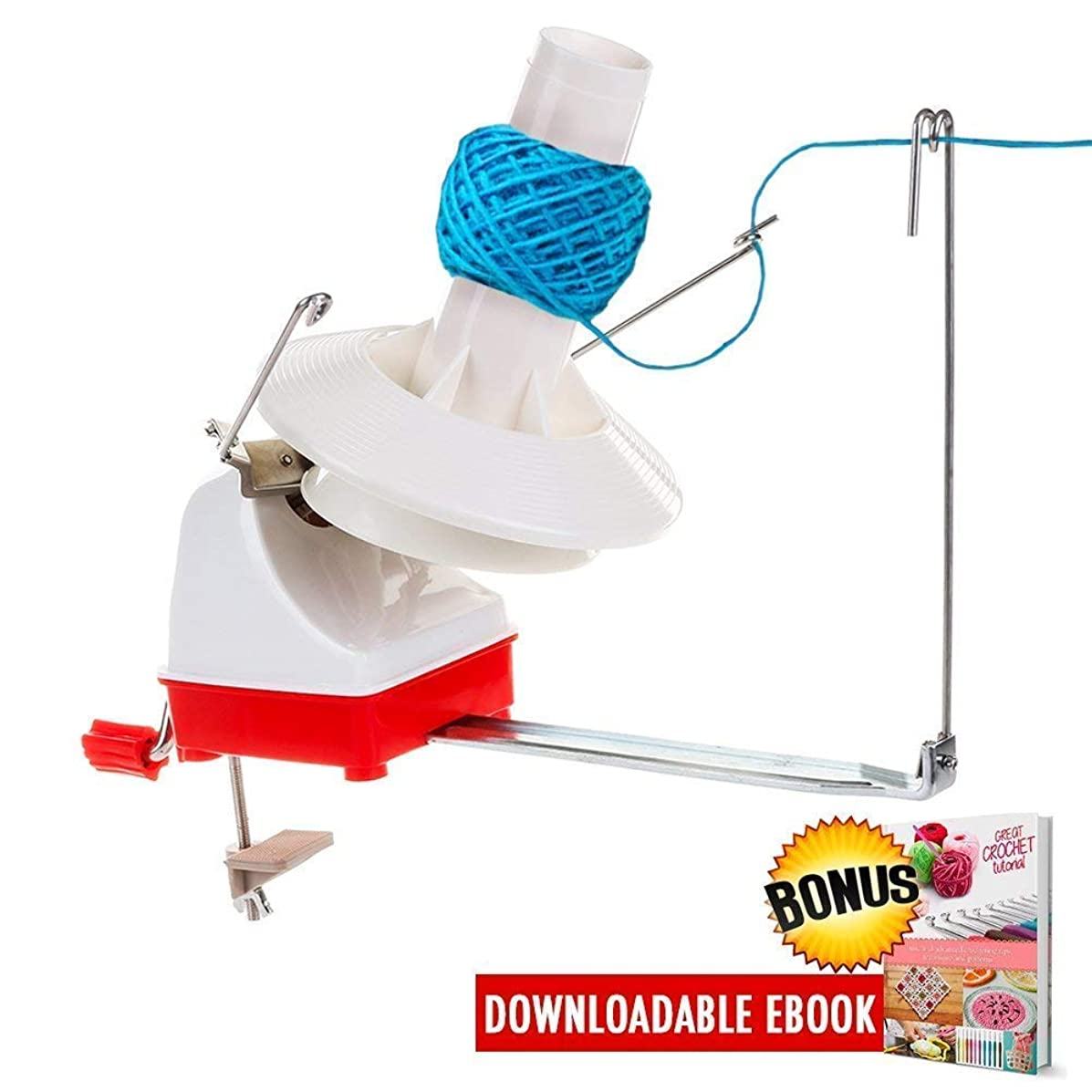 Yarn Ball Winder, Effective Jumbo Size 7-Ounce Capacity Hand Operated Yarn Winder Spinner Baller Roller for Thick Large Wool Yarns Storage Sewing Knitting Crocheting Needs with Crochet Tips Ebook