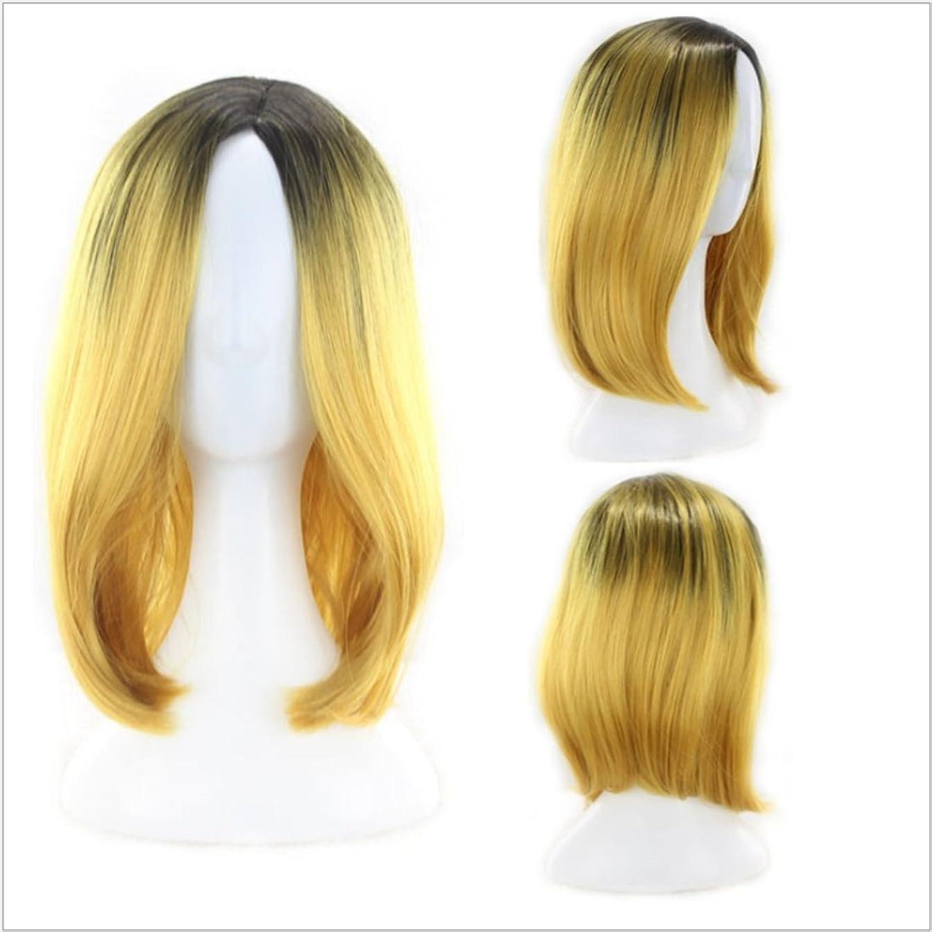 療法フラスコ問題HOHYLLYA ナチュラルグラデーションカラーかつら女性用ショートボボヘッドかつら髪耐熱性かつら長さ35cmファッションかつら (色 : イエロー)