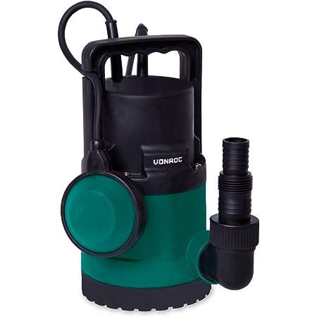 VONROC Bomba sumergible VONROC/Bomba de agua 300W - 6500l/h - Para agua limpia y ligeramente contaminada - Con interruptor de flotador
