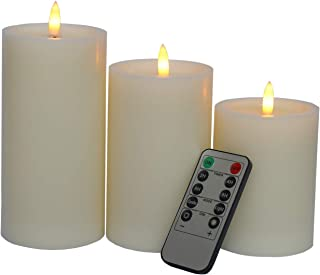 """Vanilla Scented Flameless Candles,3 Piece Set 4""""5""""6""""H (3.2""""D) Led Pillar Real Wax Candles with Remote and Timer,Ivory White"""