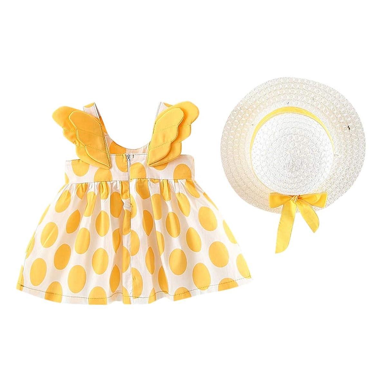 FIRERO Newborn Baby Girl Dot Print Wing Casual Princess Party Sundress Hat Dress