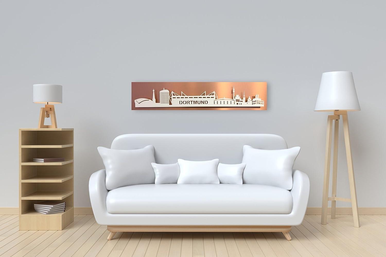 Bild Leuchtbild Skyline Dortmund mit LED-Beleuchtung- Lichtfarbe warmwei Motivfarbe  wei Platte  Kupfer Optik geschliffen   100 x 25cm
