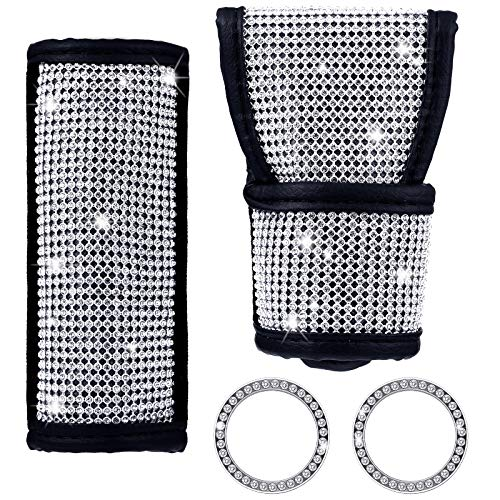 BBTO 4 Pieces Gear Shift Cover, Diamond Gear Shift Cover, Handbrake Cover, Ignition Ring Crystal Diamond Auto Car Decoration Accessories