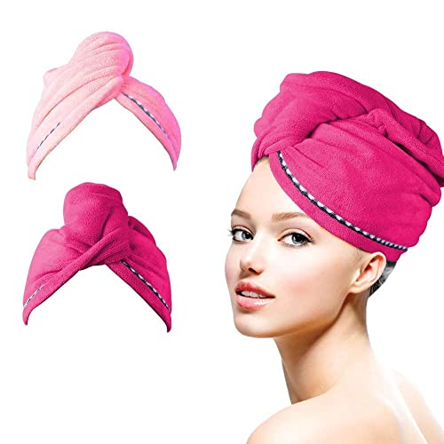 HAUEA Hair Towel,Fast Hair Drying Towel,Super Absorbent Quick Dry Twist Hair Turban,Anti Frizzy Microfiber Bath Cap Spa Turban with Button for Wet Hair 2 Pack (Red and Light Pink)