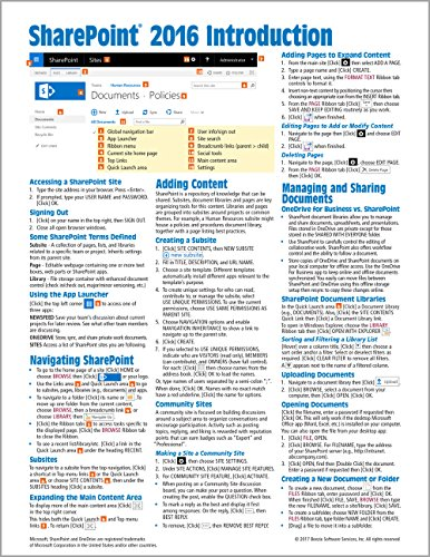 Microsoft SharePoint 2016 Introduction Quick Reference Guide - Windows Version (Cheat Sheet of Instr