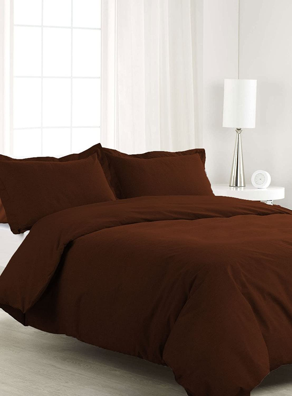 Scalabedding 100% coton égypcravaten 300fils 3pièces Housse de couette California King Taille Lot de solide Chocolat