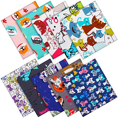 10 Stück Tier Muster Baumwoll Stoff Bündel 8 x 10 Zoll Katzen Muster Nähen Quadrat Patchwork Hunde Gedruckte Vorgeschnittene Stoff Schrott für DIY Handwerk Quilten Nähen