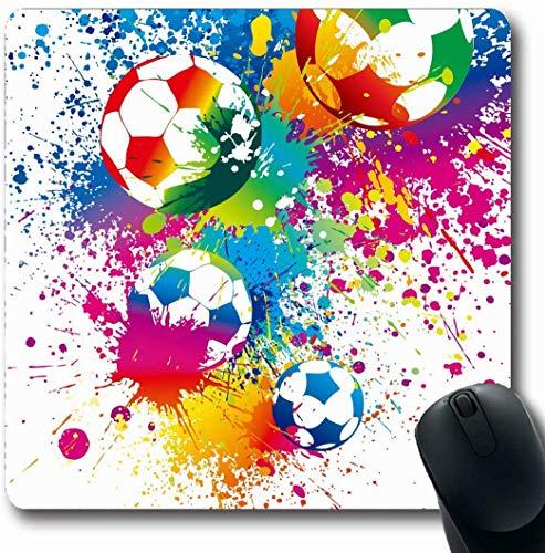 Büro Mausmatte,Spiel Mauspad,Matte Mit Genähten Kanten,Mousepads Für Computer,Ball Fußbälle Auf Weißem Fußballtor Sport-Erholungsstadion Regenbogentraining Kit Design Dribble Gaming Mouse Pad