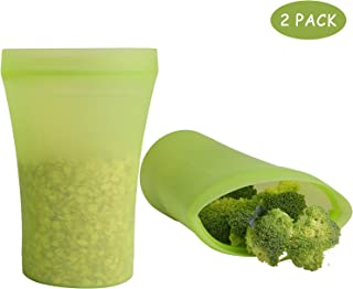 Joyda Reusable Silicone Cup Containers Set - Top 2 Pcs Zip Lock Food Storage Containers Zip Shut for Sandwiches, Snacks, Meat, Vegetables, Fruit, Sous Vide & Baby Food (Green)