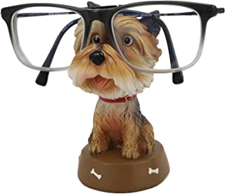 Ebros Teacup Miniature Yorkie Yorkshire Terrier Dog Novelty Whimsical Eyeglass Spectacle Holder Decor Statue Home Office Desktop Bedside Desk Table Decorative Figurine for Special Occasions
