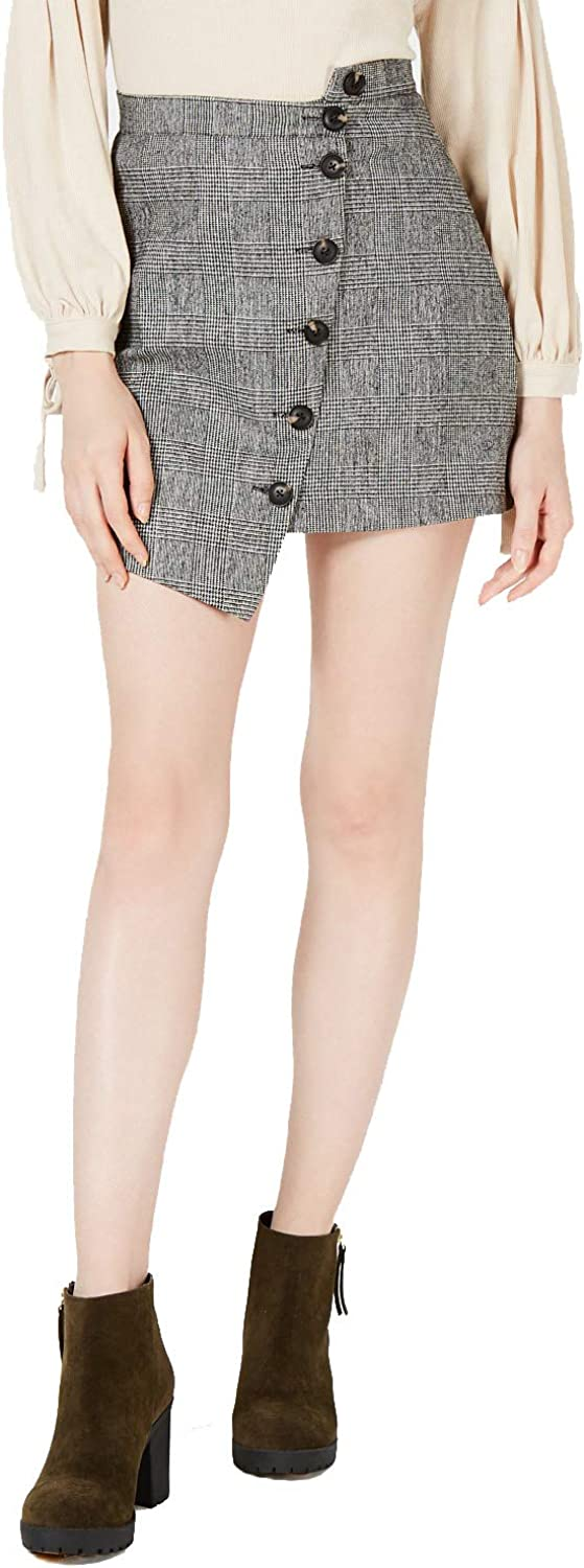 Sage The Label Womens Button-Front Asymmetrical Skirt, Grey, Large