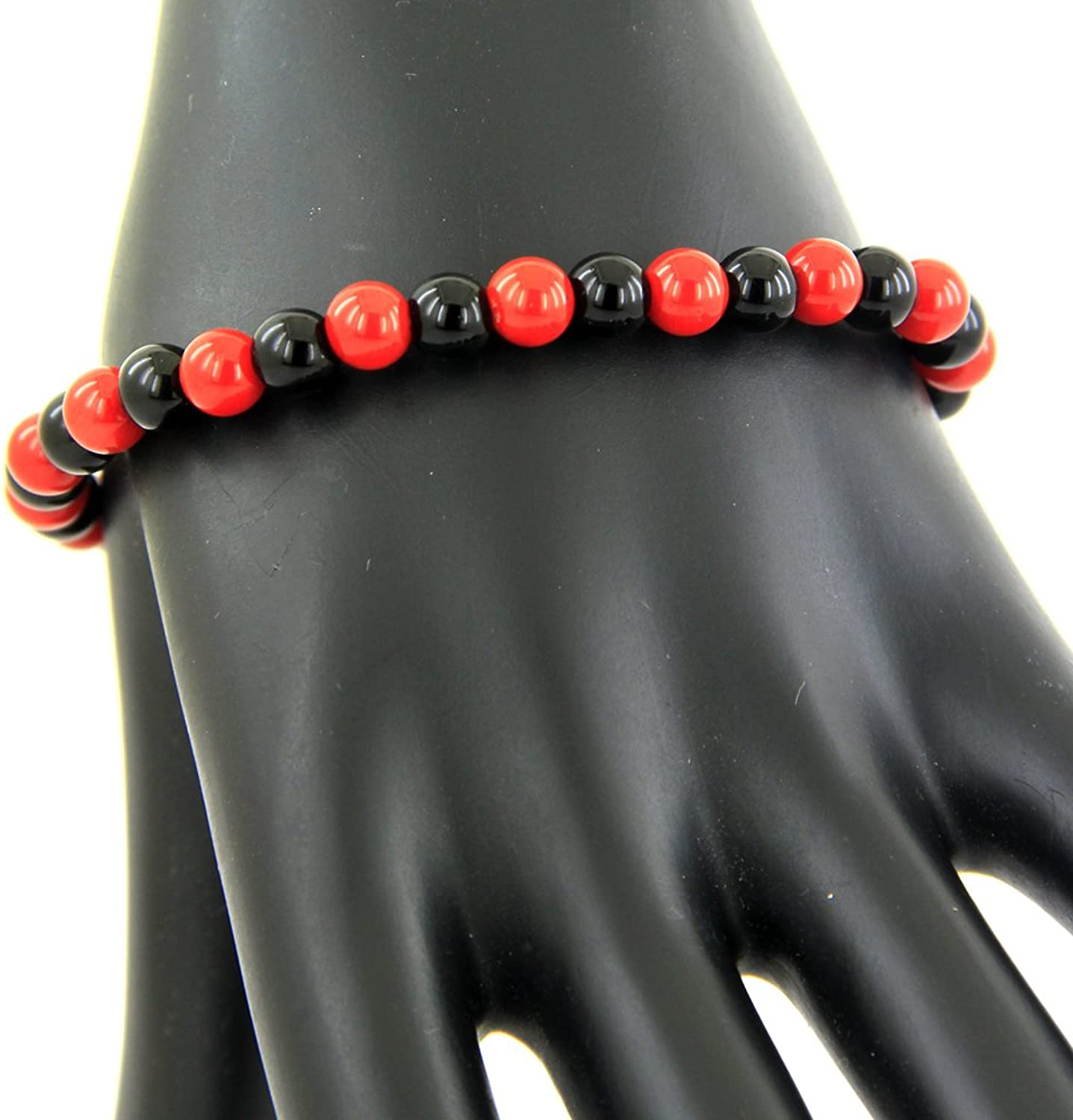 Skyjewels Red Coral and Black Haqeeq Adjustable Bracelet