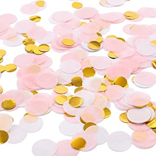 Whaline Round Tissue Confetti 6000 Pcs Paper Table Confetti Dots for Wedding Party Baby Shower and Balloon Decorations, 1 inch (Pink, White, Gold)