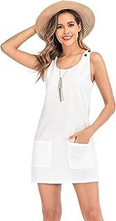 Italy Leinen Kleid Kurzarm Stickerei Details vorne Taschen Gr 34-36-38-40-42