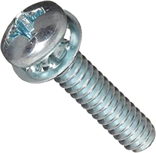 "Steel Machine Screw, Zinc Plated Finish, Pan Head, Phillips Drive, Meets ASME B18.13, Internal-Tooth Lock Washer, 3/4"" Len..."