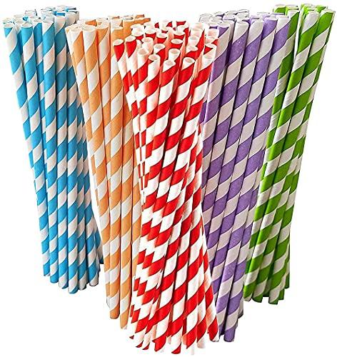 Wuhanyimang 100 pajitas de papel 100% biodegradables, duraderas y reciclables, pajitas desechables para cócteles, bebidas frías y jugos, rayas rojas, 19,6 x 0,6 cm.