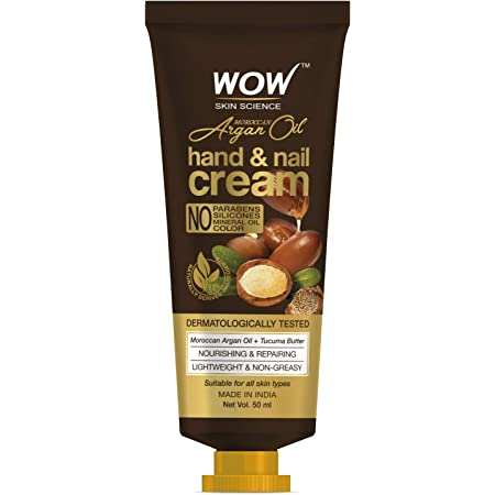 WOW Skin Science Moroccan Argan Oil Hand & Nail Cream - Nourishing & Repairing - Lightweight & Non-Greasy - Quick Absorb - For All Skin Types - No Parabens, Silicones, Mineral Oil & Color, 50 ml