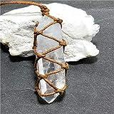 KEHUITONG Natural White Amethyst Quarz-Kristall-Säule Anhänger Heilstein Reiki Behang Fertigkeit mit Webart-Seil
