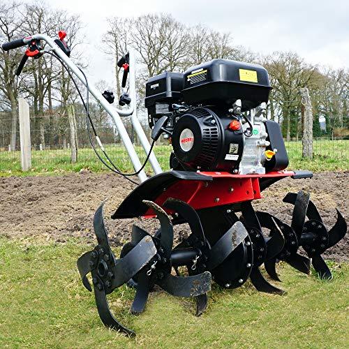 HECHT starke 4,5 kW / 6,5 PS Benzin Motorhacke I 4-Takt Motor I 32-84 cm Arbeitsbreite I 24 robuste Messer – bis 32 cm tief Garten umgraben und Boden auflockern I Gartenfräse Benzin - Bodenfräse