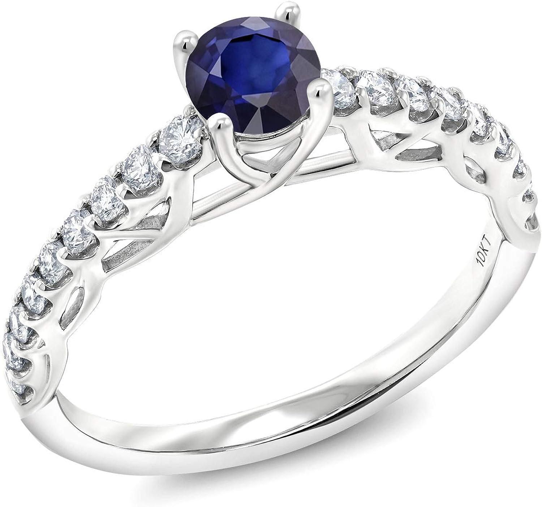 Gem Stone King 0.86 Max 52% OFF Ct Round Blue Lab Sapphire Diamond Grown Rapid rise G H