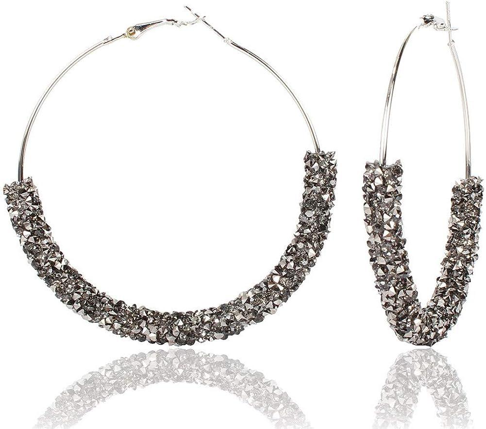 Glitter Hoop Dangle Drop Earrings 6 cms wide Silvery Glitter on Gold Tone