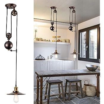 Lampe à suspension à poulie rétractable industrielle Bronze huilé poncé à l'huile Plafonnier Vintage Design pour Bar, Pub, Restaurant, Galerie, Café