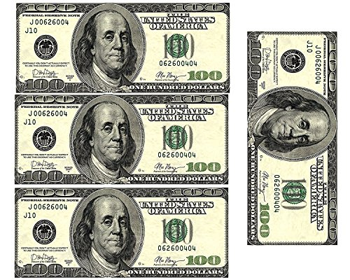 Edible 100 Dollar Bills Frosting Sheet. Real Looking Edible Money,Green - D22887