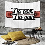Tapestry, Wall Hanging, Fitness, Schmerz kein Gewinn Vintage Emblem Design Barbells Gewichtheben Bodybuilding, ,wall hanging wall decor, Bed Sheet, Comforter Picnic Beach Sheet home décor 130 x 150 cm