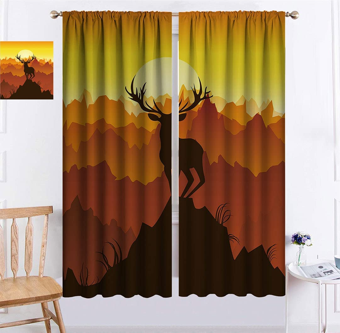 Antlers Credence Decor Window Curtains Deer at Inventory cleanup selling sale Adventure Wildlife Sunset