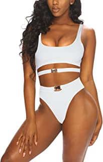 CHICE IRIS Womens Scoop Neck Removable Pad High Waist Bikini Sets with Buckles