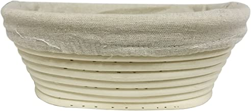 eoocvt 8.2 inch Oval Long Banneton Brotform Bread Dough Proofing Rising Rattan Handmade Basket & Liner