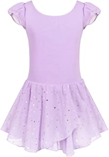 Arshiner Girls Ruffle Sleeve Ballet Dance Dress Glitter Tutu Skirted Leotard
