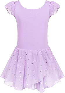 Girls Ruffle Sleeve Ballet Dance Dress Glitter Tutu Skirted Leotard