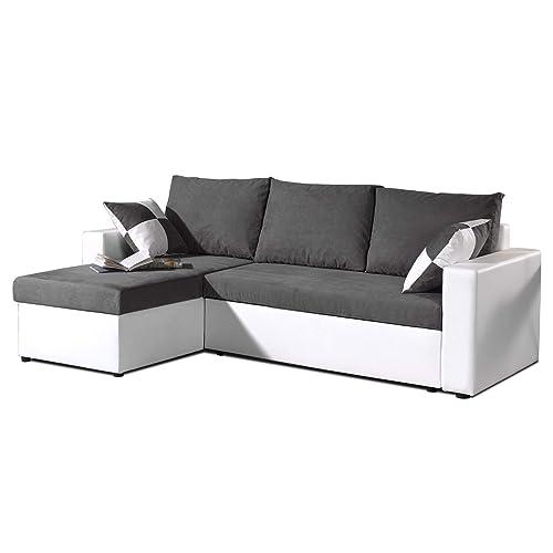 Bestmobilier - Orlando - Canapé d'angle Convertible réversible 4 Places - 225 x 145 x 85cm Couleur - Blanc/Gris