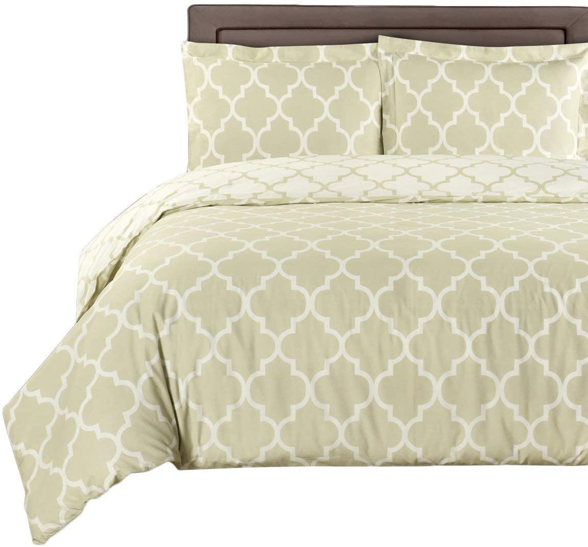 Beige-Linen and Ivory Meridian 8-Piece King Bed-in-a-Bag Including 100/% Egyptian Cotton 300 Thread Count by Royal Hotel