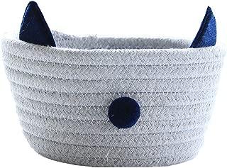 Inwagui Cotton Rope Storage Box Mini Storage Basket Bin Hamper for Nursery Kid s Room Office Organiser  Cute Cat Style Gray
