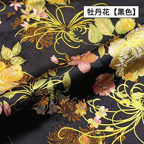 Meterware als Dekostoff- Chinesischer Stil Brokat Chinesisches Kleid Cheongsam Seide Jacquard Stoff Kleidung, Pfingstrose Blume Schwarz 0,5 M