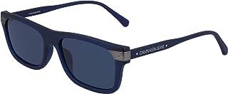 نظارات شمسية مستطيلة للرجال من كالفن كلاين، ازرق كريستالي