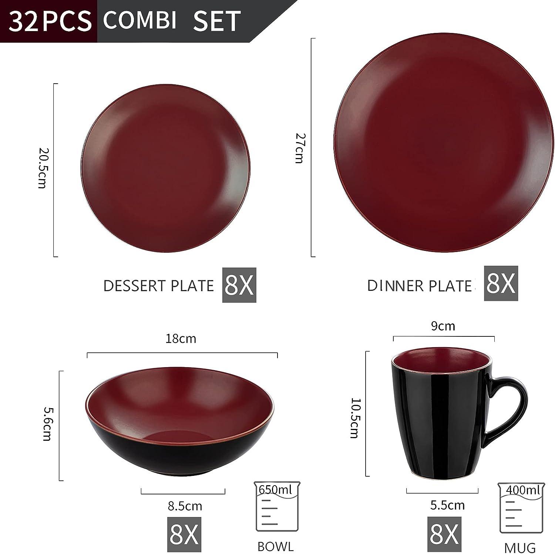 vancasso Allegro Matte Dinnerware Set Service for 4 16 Pieces Dinner Set Black /& Blue Stoneware Crockery with 10.7 inch Dinner Plate 8 inch Dessert Plate 7 inch Bowl and 14 oz Mug