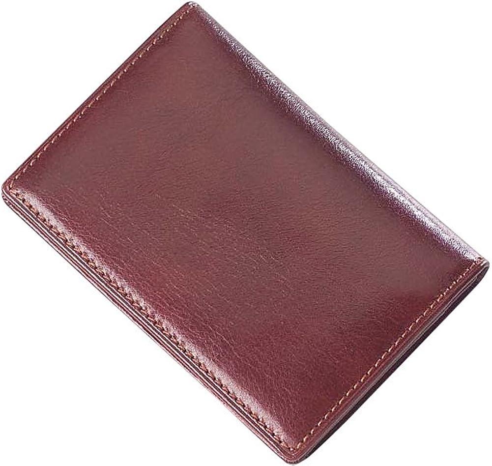 Clava Glazed Leather Flap Over Card Holder (Glazed Italian Cogna
