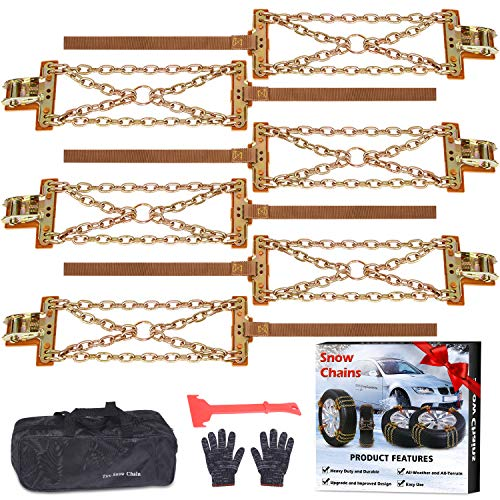 Tire Chains, Snow Chains for suvs, Cars, Sedan, Family Automobiles,Trucks with Update Adjustable Lock for Ice, Snow,Mud,Sand,Applicable Tire Width 215-315mm/8.5-12.4in (6 PCS) (Cross Style)