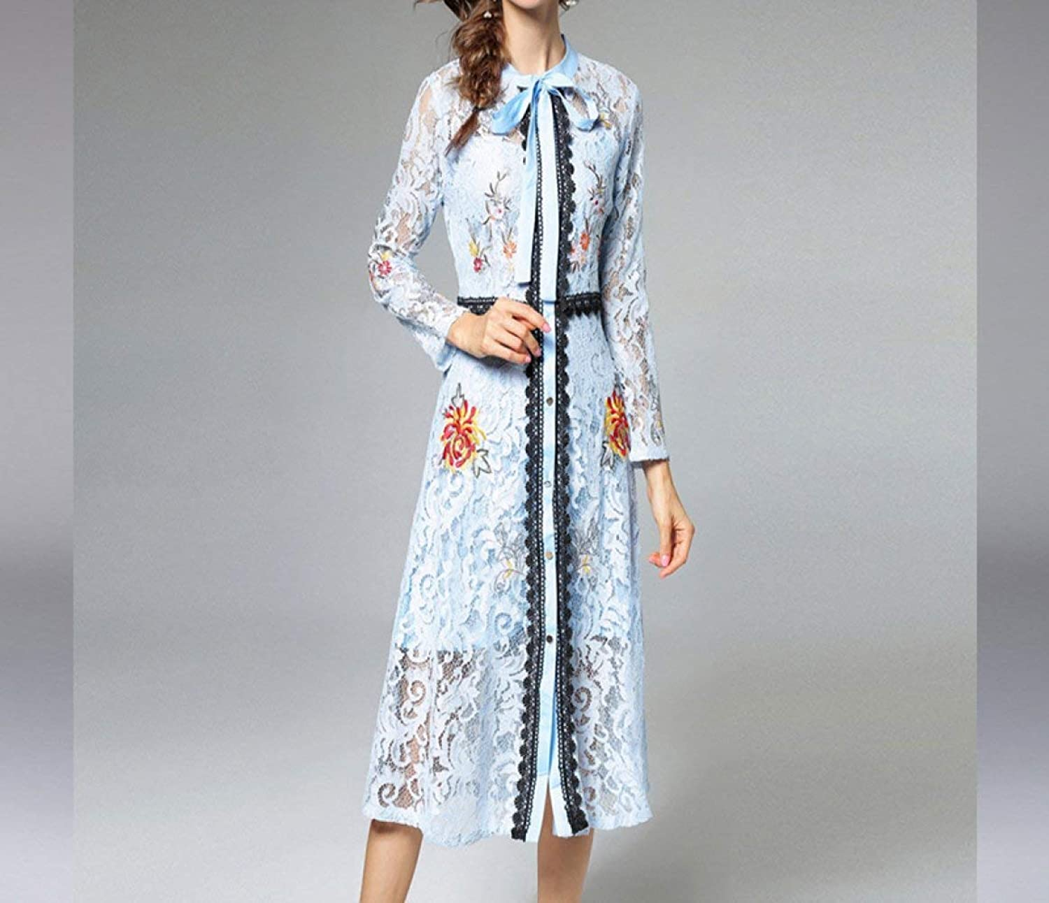Haiyugua New Summer lace Embroidered Dress Hollowed Out Waist was Thin in The Long Skirt