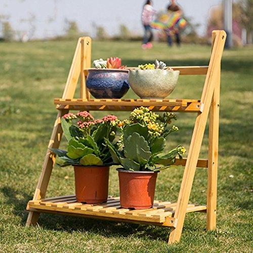 etagere plante Fleur Stand / 3 Tier Pliant Bois Stand Fleur Plante Pot Affichage Étagère Échelle Jardin Extérieur