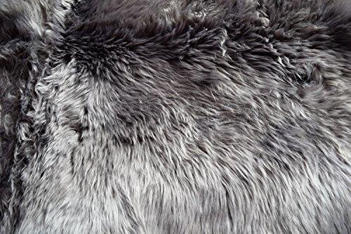 Naturasan Lammfell Schaffell Quadro aus 4 Fellen ca. 180×100 cm, Quadro, Grau - 4